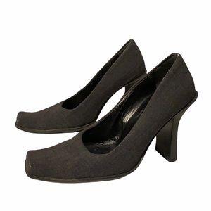 PRADA 90's Gray Leather Vintage Square Toe Heels